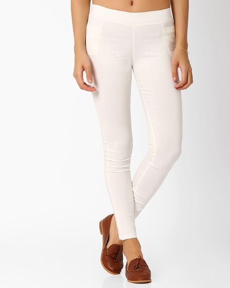 Slim Fit Trousers With Elasticated Waistband By Izabel London By Pantaloons ( White )