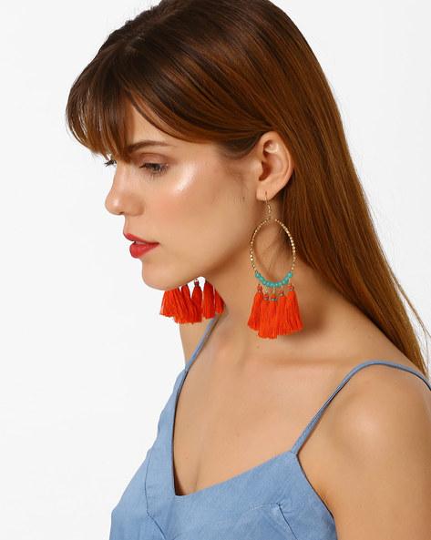 Beaded Tassel Drop-Earrings By BLUEBERRY ( Red )