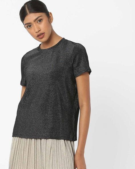 T-shirt With Speckle Effect By Vero Moda ( Black )