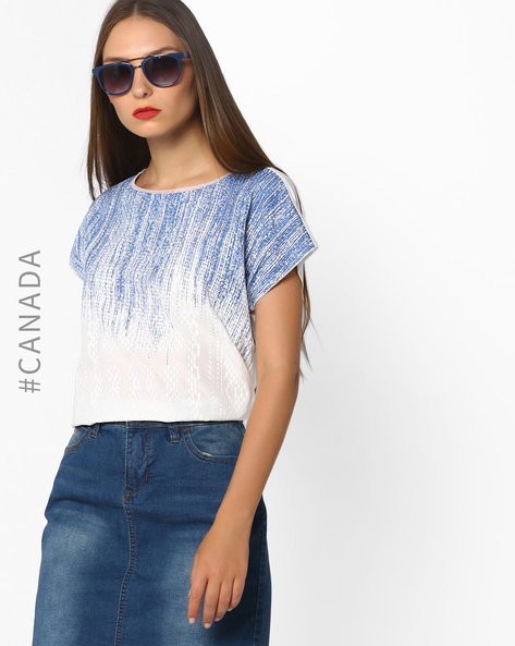 Printed Top With Extended Sleeves By Point Zero ( White )