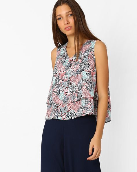 Printed Layered Swing Top By AJIO ( Offwhite )