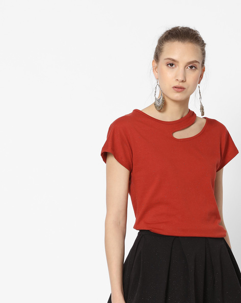 Speckled T-shirt With Cut Out By ANONYMOUS CO ( Redorange )