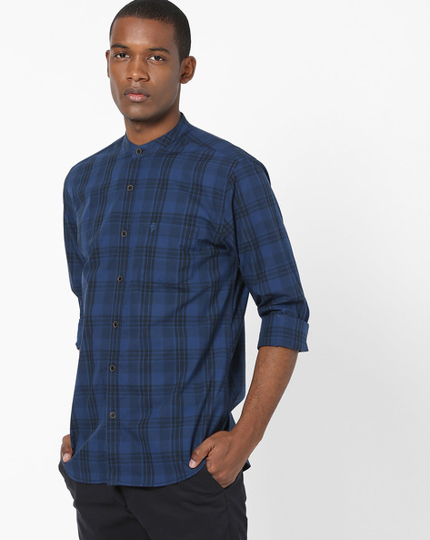 Checked Shirt With Band Collar By NETPLAY ( Blue )