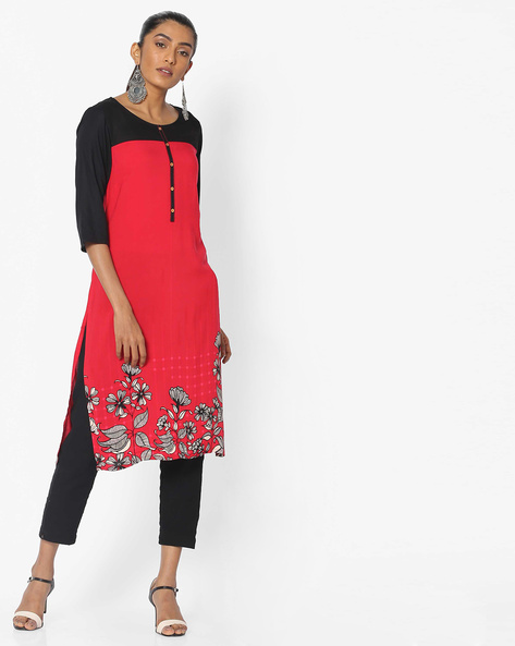 Straight Kurta With Contrast Sleeves By AURELIA ( Red )
