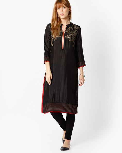Straight Kurta With Floral Print By Rangriti ( Black )