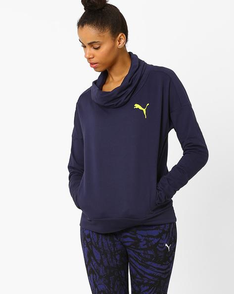 Cowl-Neck Sweatshirt By Puma ( Blue )