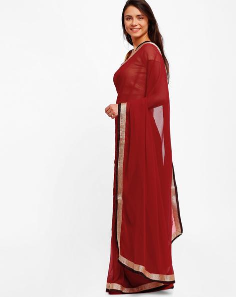 Chiffon Saree With Zari Border By Majestic Silk ( Red ) - 460006176001