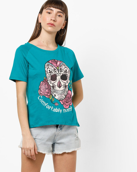 Graphic Print T-shirt With Cut-Out Shoulder By AJIO ( Green )