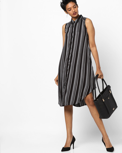 Striped Shirt Tunic With Curved Hem By And ( Medgrey )