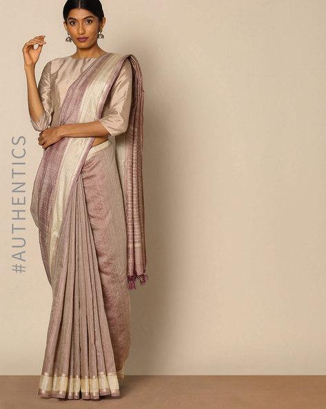Handloom Pure Silk Muga Saree By Indie Picks ( Grey )