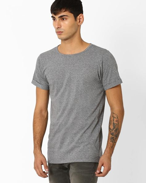Crew-Neck Knitted T-shirt By ADAMO LONDON ( Greymelange )