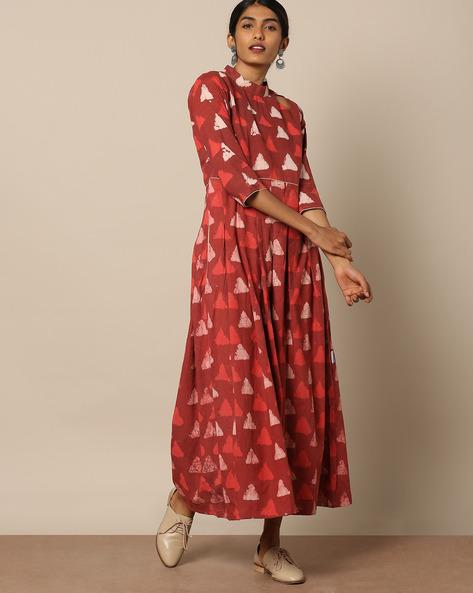 Printed Cotton Maxi Dress By Miar Designs ( Orange )