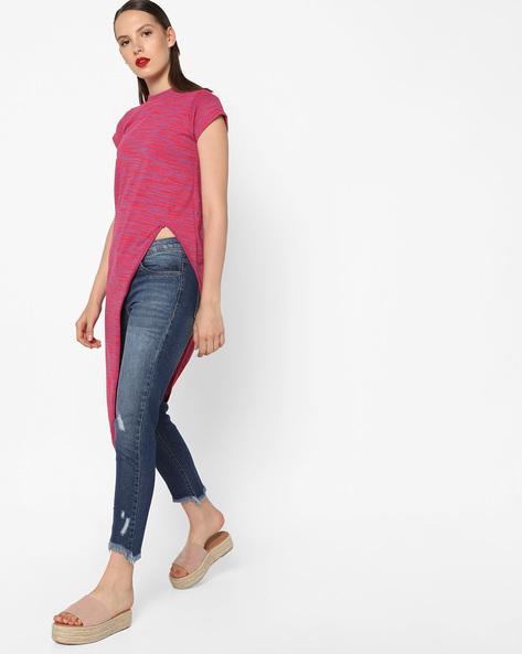 High-Neck Asymmetrical Top By AJIO ( Pink )