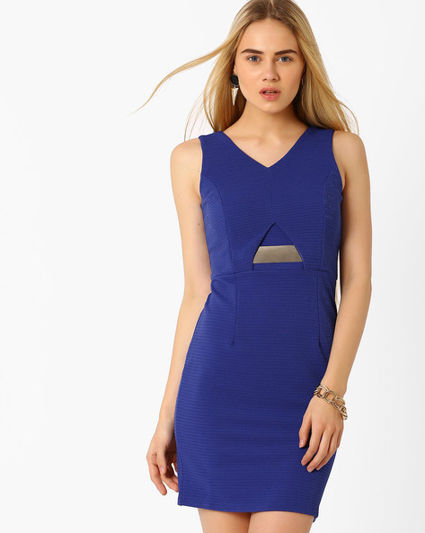 Sheath Dress With Metal Accent By Candies By Pantaloons ( Navyblue )
