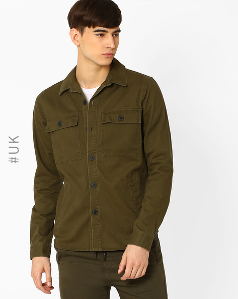 Regular Fit Shacket With Curved Hem By Another Influence ( Khaki )