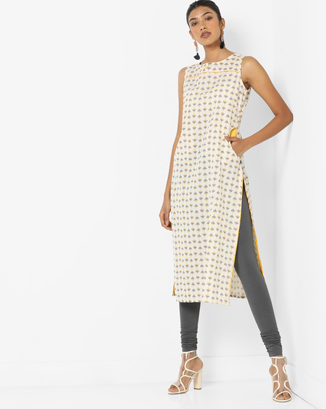 Printed Straight Kurta With Pockets By AVAASA MIX N' MATCH ( Offwhite )