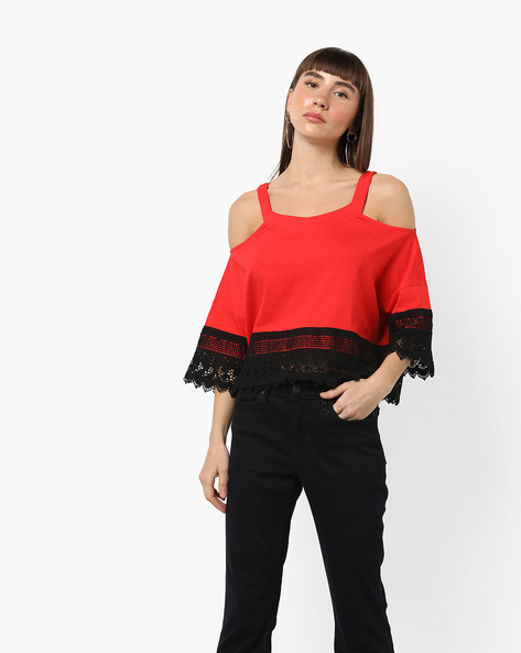 Cold-Shoulder Top With Lace Overlays By AJIO ( Red )