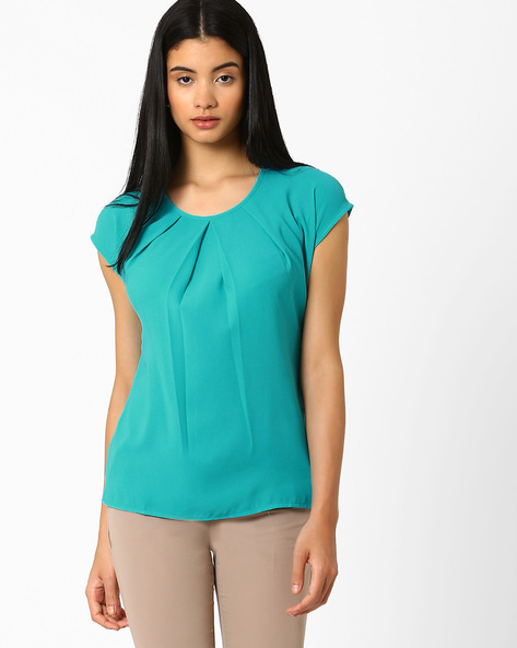 Pleat-Front Top With Cap Sleeves By AJIO ( Aqua )