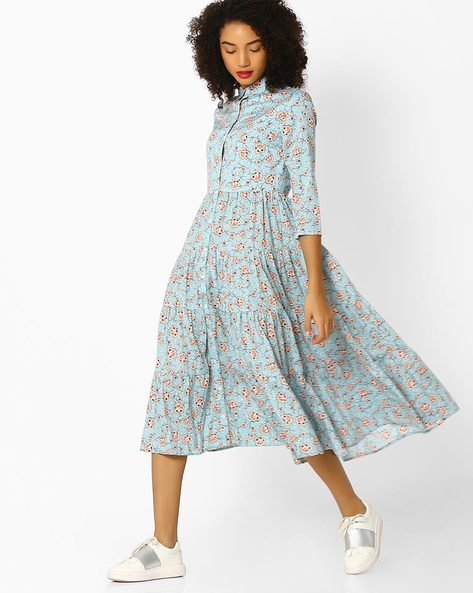 Floral Print Flared Dress By Femella ( Blue )