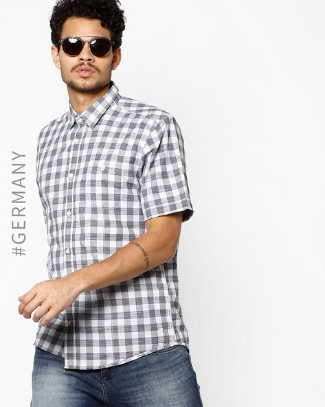 Gingham Check Shirt With Patch Pocket By Tom Tailor ( Blue )