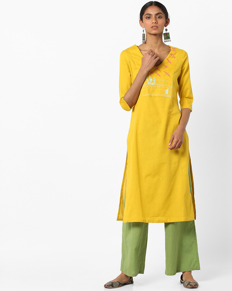 V-neck Straight Kurta With Embroidery By AJIO ( Yellow )