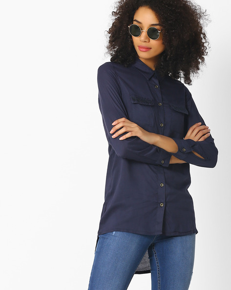 High-Low Shirt With Embroidered Pockets By DNMX ( Navy )