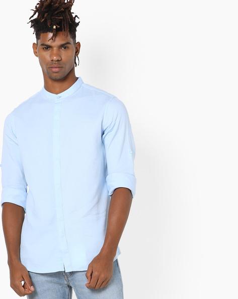 Textured Shirt With Mandarin Collar By AJIO ( Blue )