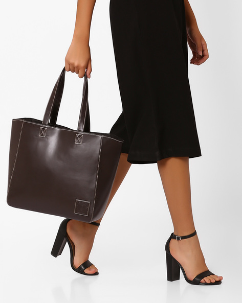 Structured Tote Bag By Gusto ( Brown )