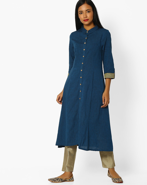 A-line Kurta With Button Placket By AVAASA MIX N' MATCH ( Blue )