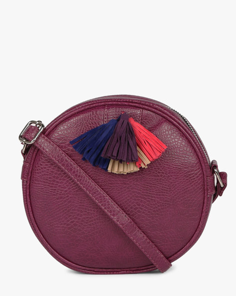 Sling Bag With Tassels By Kanvas Katha ( Purple )