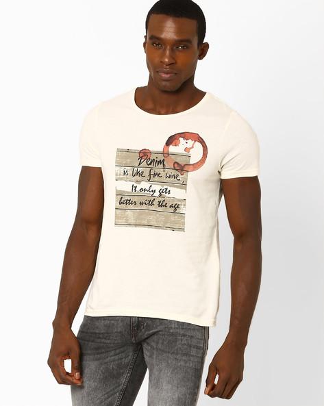 Conversational Print Crew-Neck T-shirt By AJIO ( Offwhite )