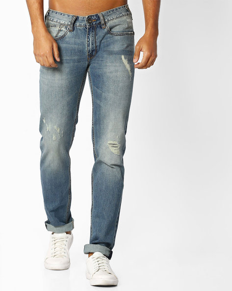 MId-Washed Distressed Jeans By Pepe Jeans ( Indigo )