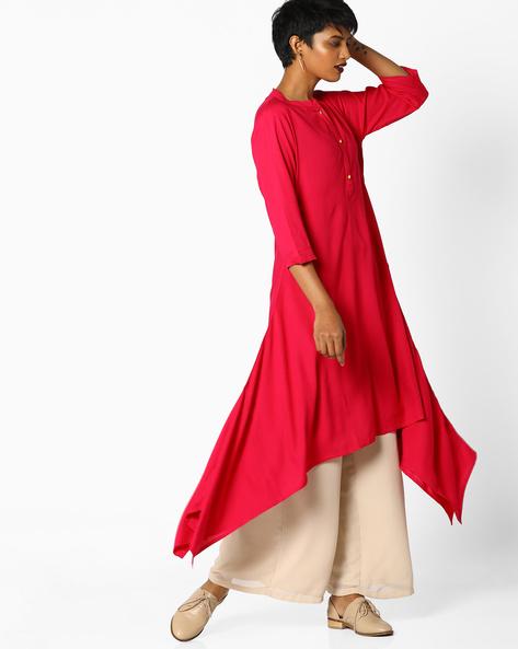 Straight Kurta With Handkerchief Hemline By AVAASA MIX N' MATCH ( Magntafusha )