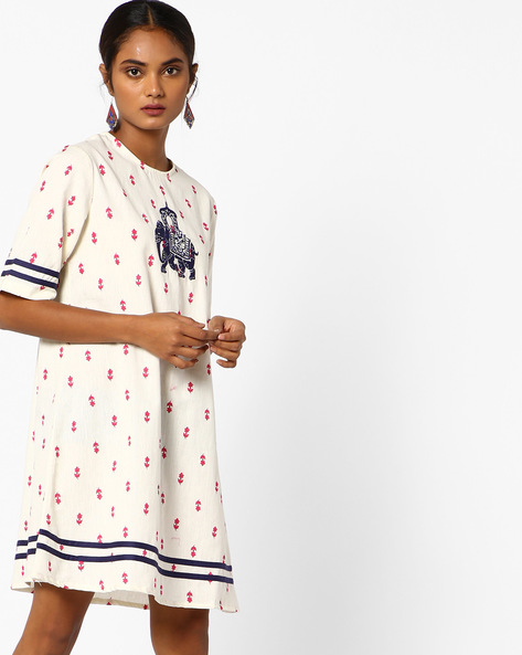 Shift Dress With Embroidery By AJIO ( Offwhite )