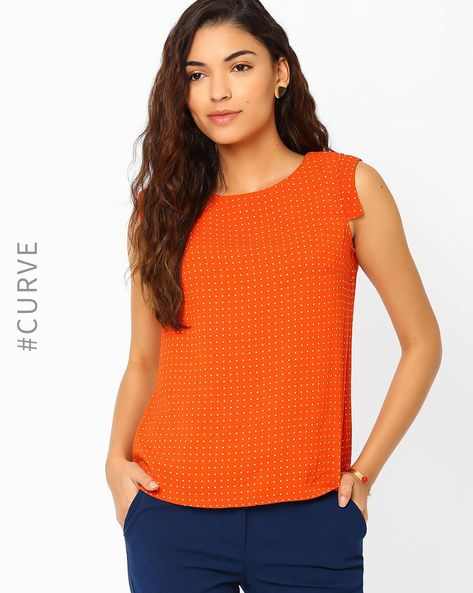 Printed Top With Cap Sleeves By AJIO ( Orange )