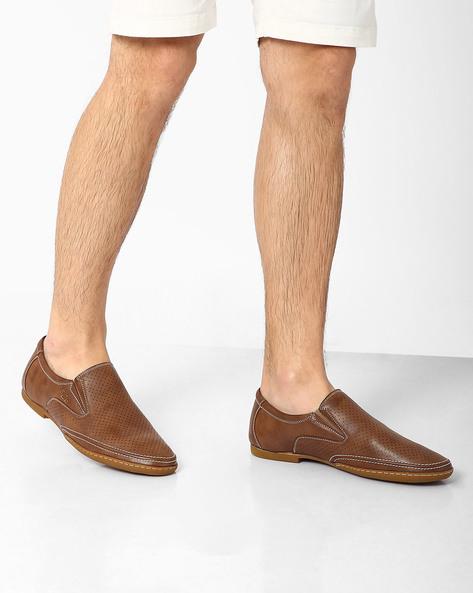 Casual Perforated Slip-Ons By BUCKAROO ( Tan )