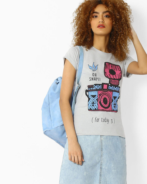 Graphic Print T-shirt With Upturned Sleeve Hems By Blue Saint ( Grey )