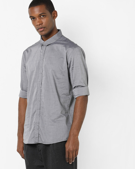 Cotton Shirt With Spread Collar By VOI JEANS ( Grey )