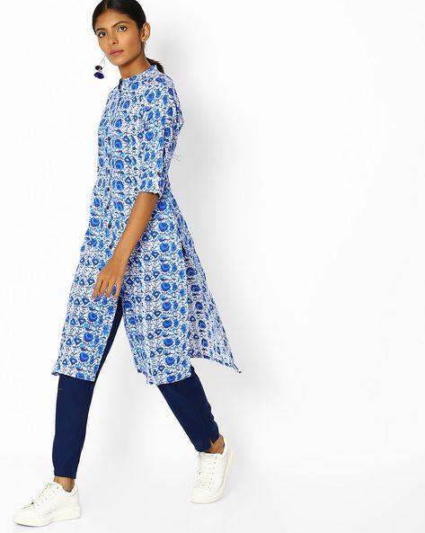 Printed Kurta With Mandarin Collar By Shree ( Blue ) - 460118151003