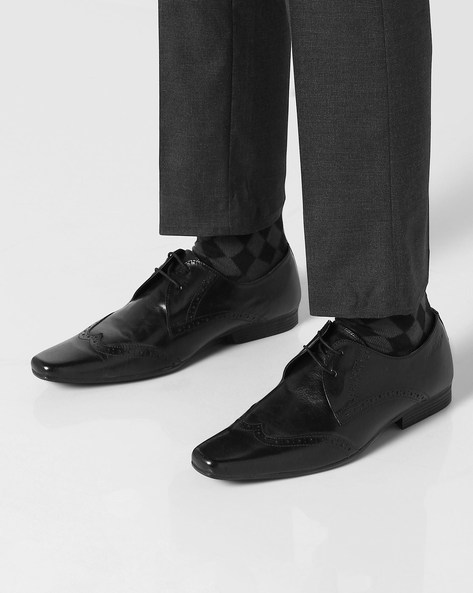 Genuine Leather Textured Formal Shoes By RED TAPE ( Black ) - 460079499001