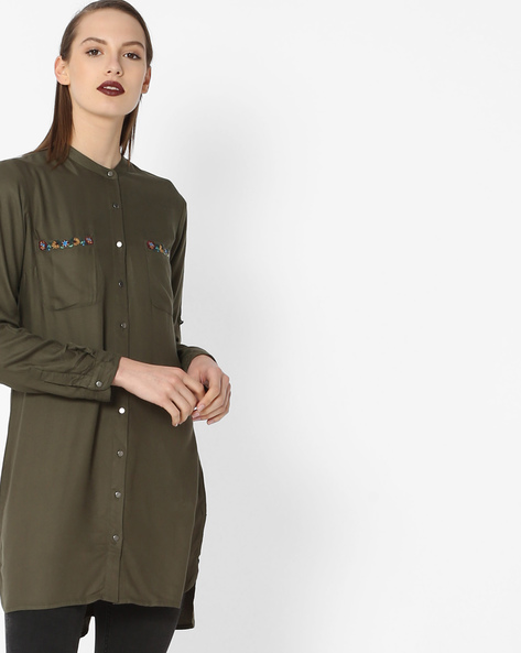 High-Low Tunic With Embroidery By Project Eve WW Casual ( Olive )