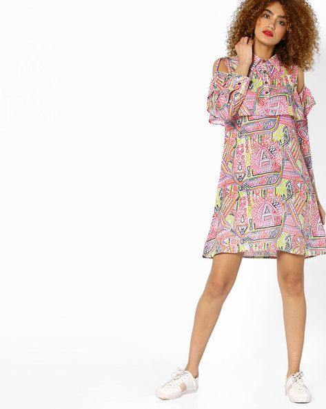 Printed Tunic With Ruffled Cold-Shoulder Sleeves By Jiyaa ( Multi )