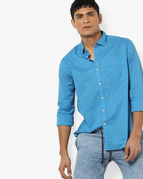 Cotton Shirt With Spread Collar By FLYING MACHINE ( Green )