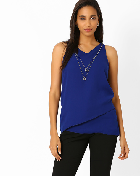 Sleeveless Top With Layered Hem By Annabelle By Pantaloons ( Navyblue )