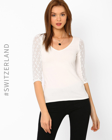 Top With Lace Sleeves By TALLY WEiJL ( Offwhite )