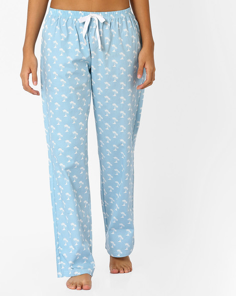 Printed Cotton Lounge Pants By Heart 2 Heart ( Blue )
