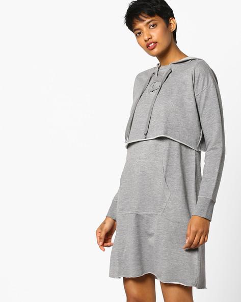 Hooded Popover Dress With Kangaroo Pocket By AJIO ( Lightgrey )