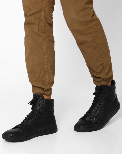 Faux Leather Mid-Top Sneakers By AJIO ( Black )