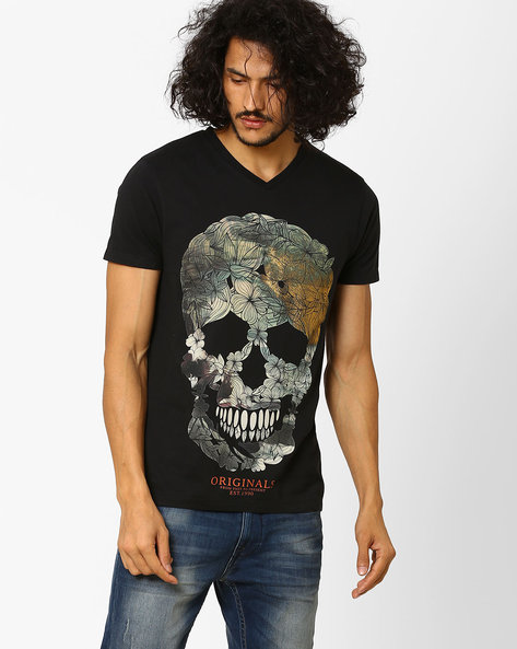 Slim Fit Printed T-shirt By Jack & Jones ( Black )