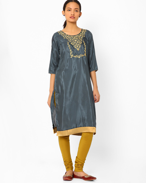 Straight Kurta With Embroidery By AURELIA ( Black ) - 440732833005